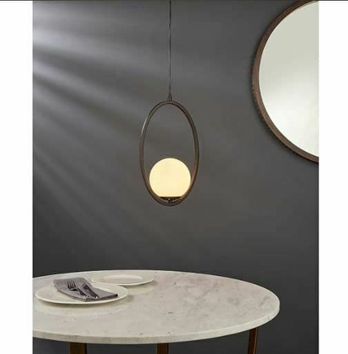Eden Pendant Aged bronze effect paint & opal glass Light